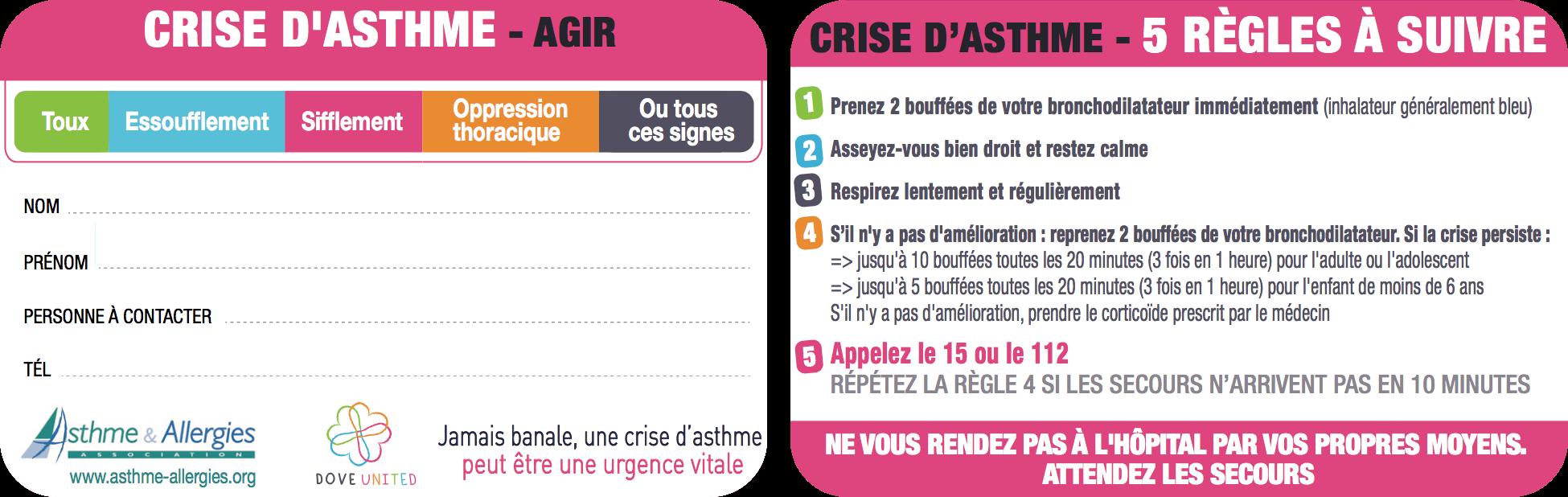 Carte Crise d'asthme Agir